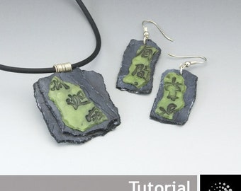 "Polymer Clay PDF Tutorial ""Faux Slate/Jade Jewelry Set"" p"