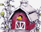 Bird House Hand Painted Blank Card