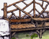 Mohonk Bench Hand Painted Blank Greeting Card