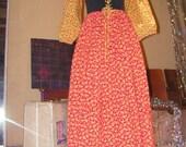 70's Granny Dress Paisley Flowers Print Long Ruffle Corset Bell Sleeves Hippie Peasant Boho ships free