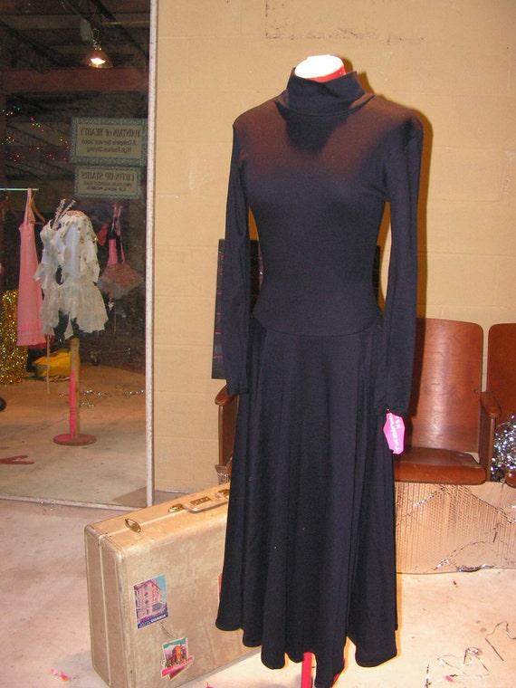 Vintage 80's Betsey Johnson Black Classic Long Circle Skirt Dress