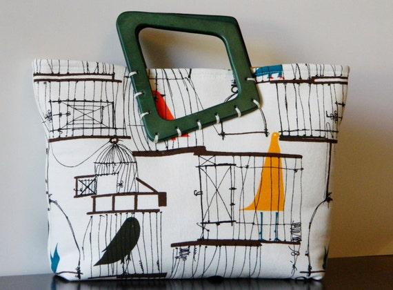 Handheld Purse with Wooden Handles 60's Retro Bird Cage Print