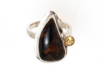 Chatoyant Pietersite and Citrine Ring Size 9