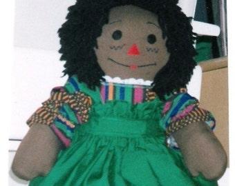 HandCrafted ( 20inch Ebony )  Raggedy Ann Doll with Black Hair