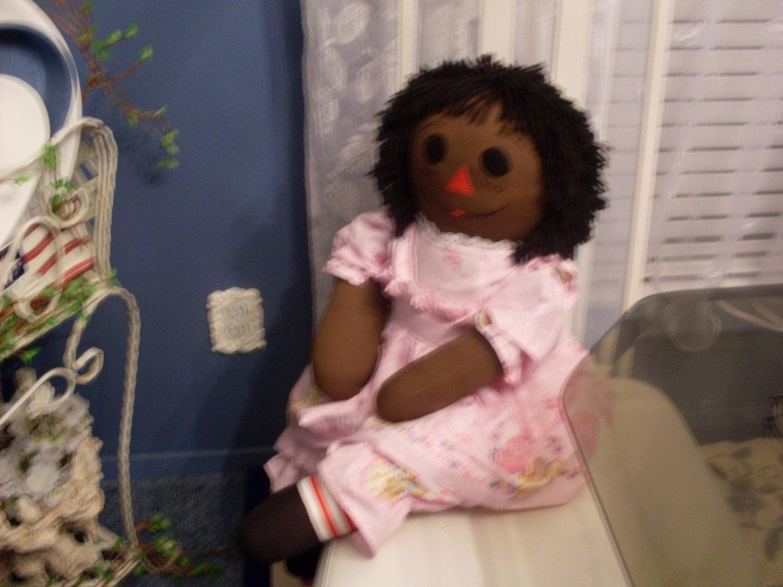36inch ebony cloth classic raggedy ann dolls with black hair