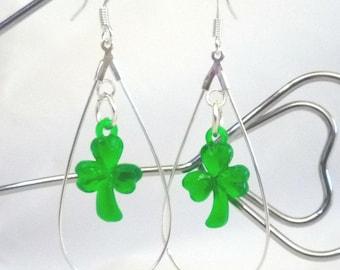St. Patricks Day Clover  in Silver Plated Tear Drop Earrings Handmade