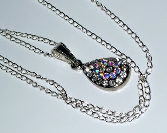 Gorgeous Small Tear Drop  Rhinestone Necklace  Beautiful Colours  READY TO SHIP
