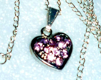 Gorgeous Pink Rhinestone Heart Necklace      READY TO SHIP