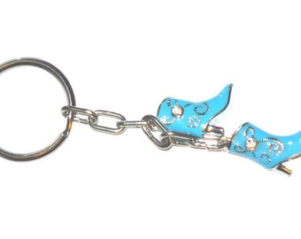 Texas Two Step  western turquoise cowboy boot key chain   Dancing Boots    READY TO SHIP