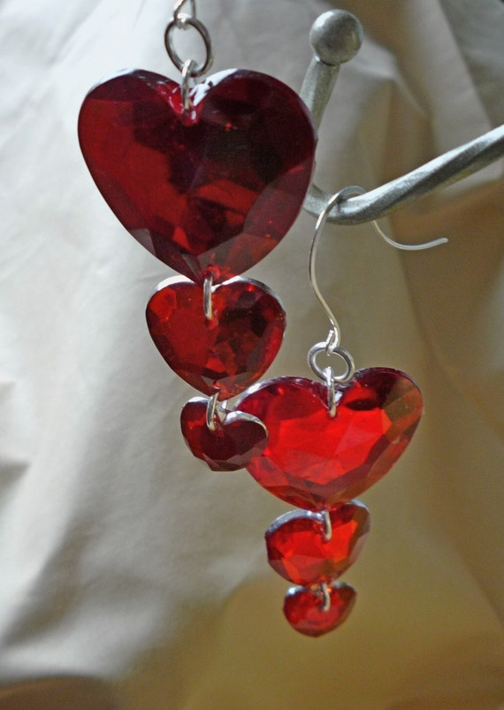Large Red Heart Earrings     Triple Hearts Valentines Day