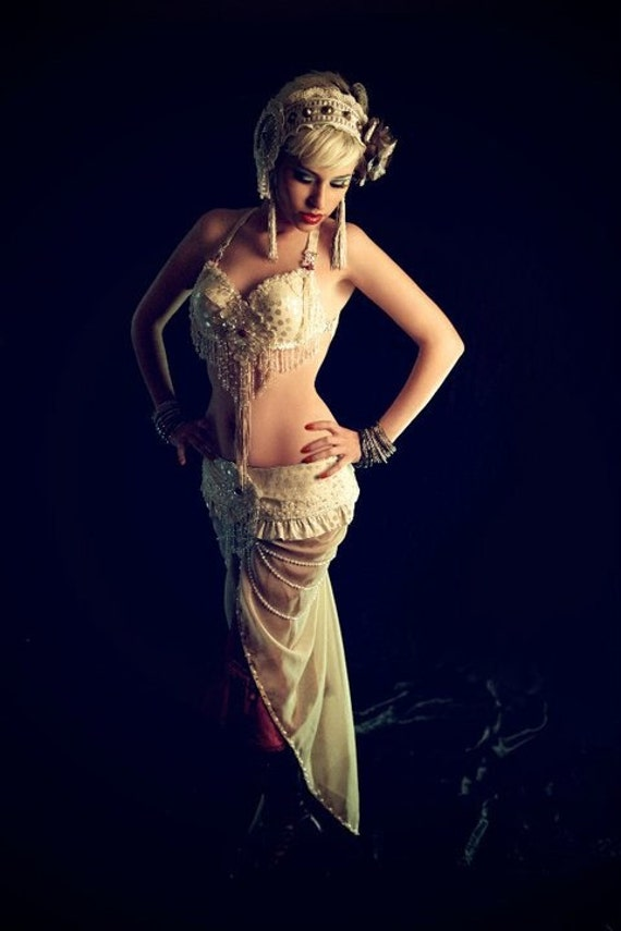 SALE  Further reductioin today only   Vanilla Ice Vintage inspired professional tribal fusion bellydance set by Lotusdevi Designs
