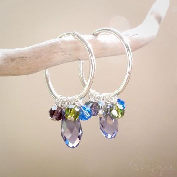 Ice wine Small Hoop Earring Swarovski Charms Sterling Silver- Made to order