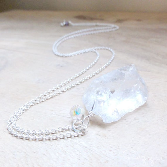 Reserved For K... Rough Clear Quartz Crystal Necklace Pendant Sterling Long