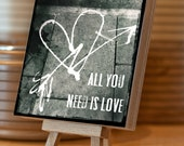 Photo Block -  All You Need is Love Graffiti, 14.5cm square plywood block, black & white, Beatles stacking, gift under 20