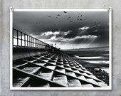 Crosby Steps dramatic black and white seaside view, beach steps winter sky cold birds flying - 10x8 inch photograph photo print