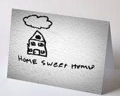 Stencil Graffiti Photo Notecard - Home Sweet Home black on white wall, house home welcome new home housewarming