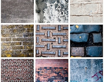 Urban textures digital collage sheet 2 inch square photographs wall brick wood red brown black street city instant download pdf jpg