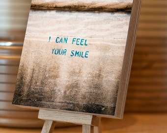 Graffiti Photo Block Birch Plywood 14.5x14.5 cm stencil 'I Can Feel Your Smile' photograph wood ply freestanding stacking home decor