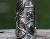 FREE SHIPPING and 15% OFF - Autumn tree - tiger eye, sunstone and sterling silver ring