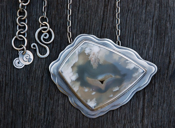 Flying - plume agate necklace
