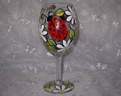 Lady Bug and Daisy Hand Painted Wine Glass