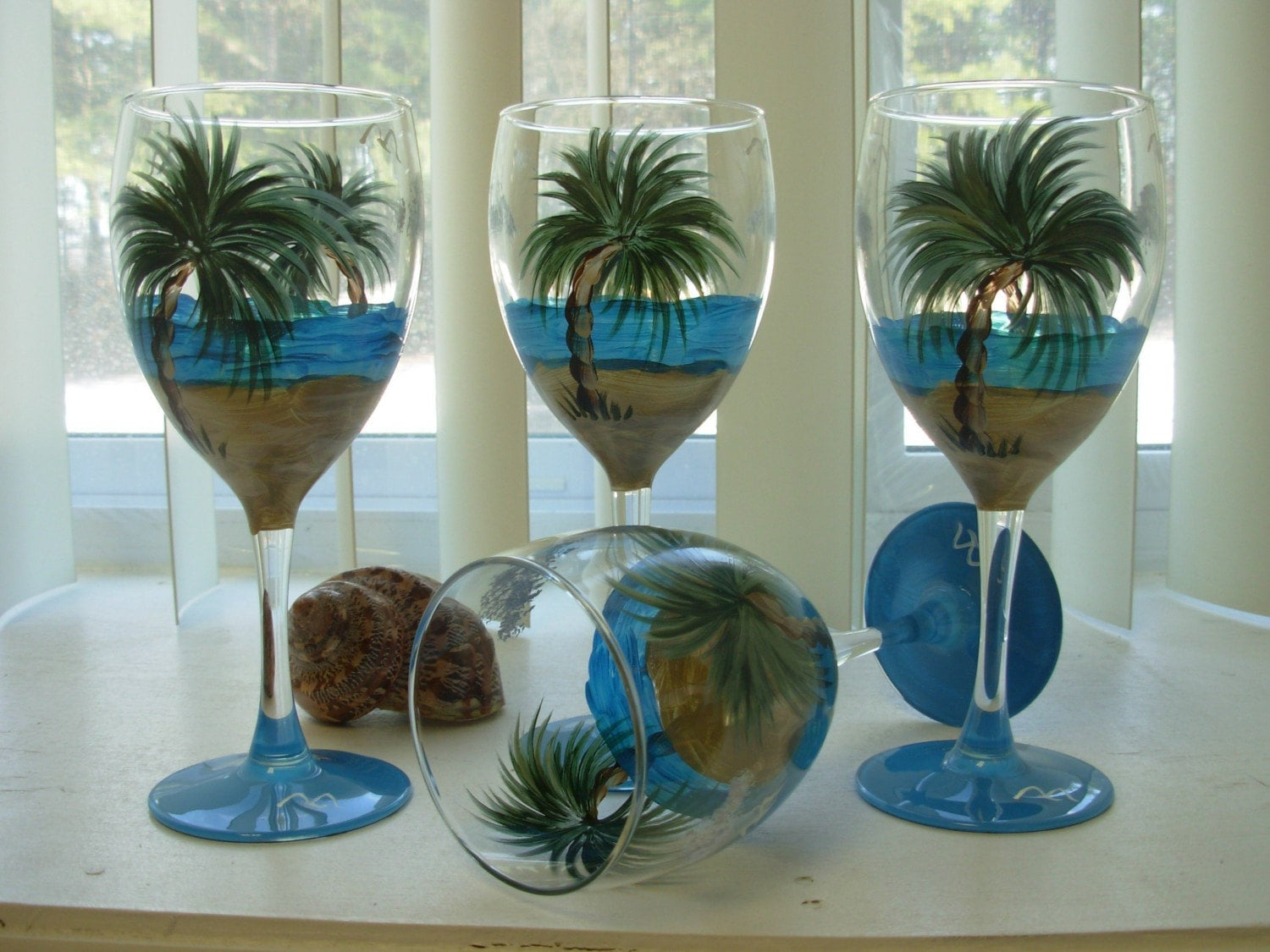 Painted Wine Glasses Palm Trees