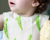RESERVED FOR LIZ. Organic Baby Bib - Pea Pods