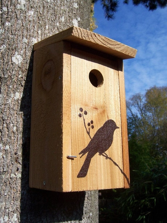 Natural Recycled Wood Bird House - Bird with Berries