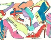 ShoeHouse Frenzy Watercolor 5 x 7 Print
