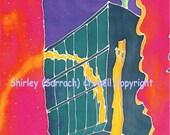 Silk Painting Print, Architectural, Original Designs