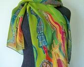 Silk Scarf Original Architectural Painting