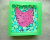 Watercolor Original Framed Painting - Pink Check Chick