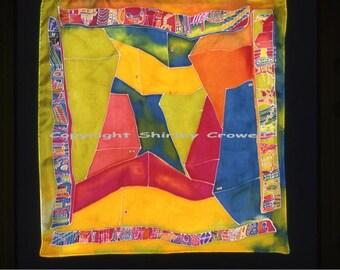 Silk Painting, Original Design, 22 x 22 size