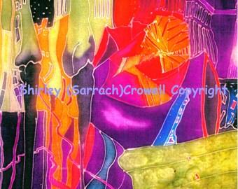 Silk Painting Print, Architecture, Original Art