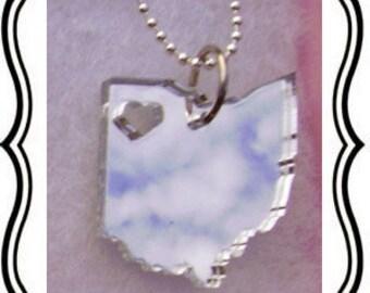 NorthWest Ohio Acrylic Silver Mirror necklace