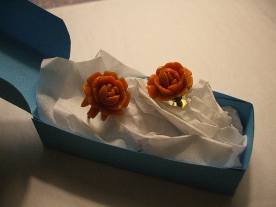 Reserved for postmodernmen Vintage Coral Pink Earrings