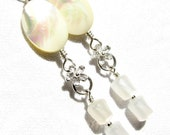 A Dream of Ivory Sands - Shell, Vintage Lucite and Sterling Silver Earrings