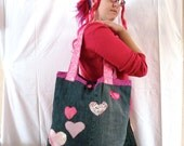 Upcycled Fabric Scraps Pink Hearts Recycled Tote Bag Valentine's