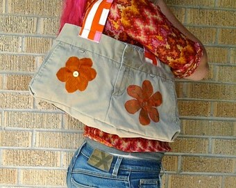 Upcycled Jeans Orange Fall Flowers Recycled Butt Bag
