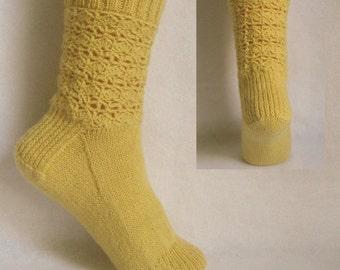 PDF Sock Pattern, Gilded Lace Sock Pattern, lacy sock pattern - part knit, part crochet