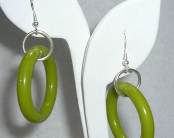 Upcycled green dangle earrings