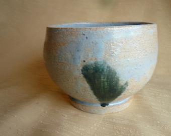 Rustic blue ceramic tea bowl