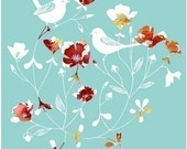 """Watercolor Illustration of two birds and flowers titled """"Little Sparrows"""" (turquoise/red)"""