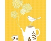 """Illustration Print of a Bird, a Tea Pot and a Tea cup titled """"Tea for One"""""""