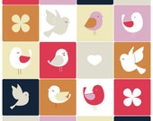 "Original Illustration of cute modern birds ""Birdie Squares"""
