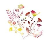 """Watercolor Illustration Print of a bird and a garden titled """"Smallness"""""""