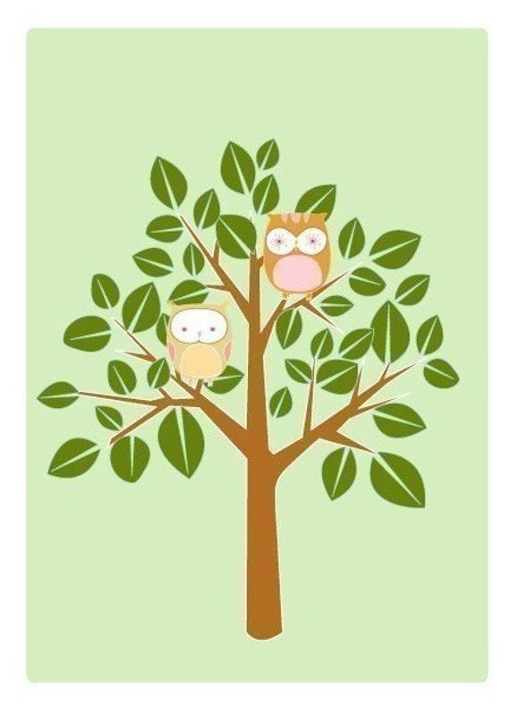 Summer Owl Tree 5X7 print