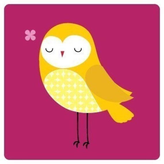 "Modern Illustration print of an Owl titled ""Lydia Owl"""