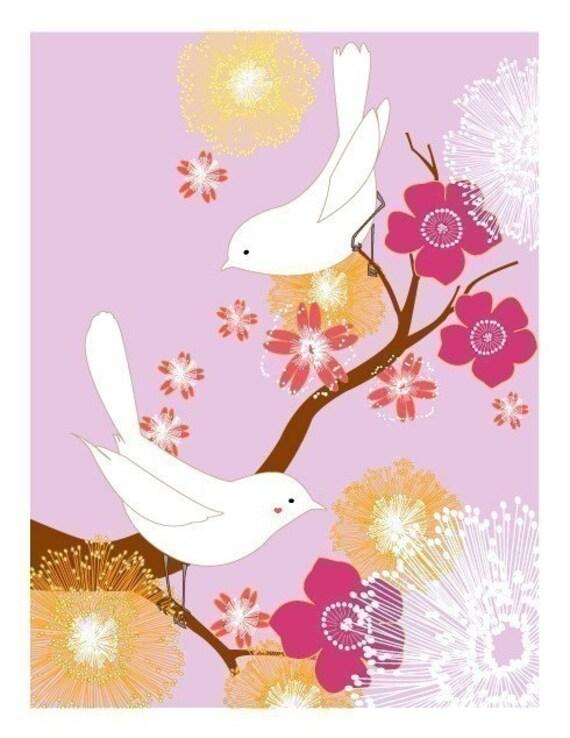 White Love Birds (magenta)