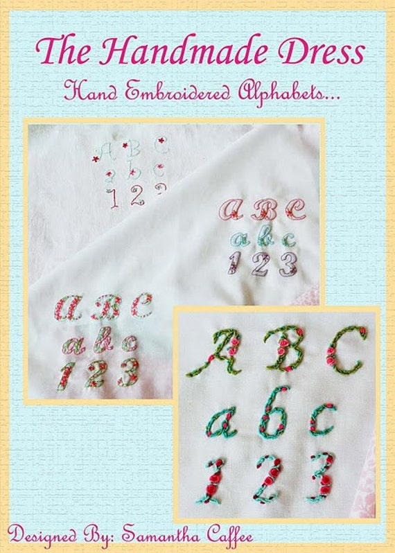 Hand Embroidered Alphabets Designs Instant Download